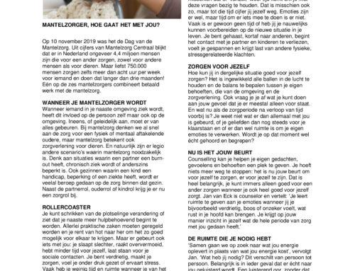 Mantelzorger, hoe gaat het met jou? – Artikel relatietherapeut Jan van Eck
